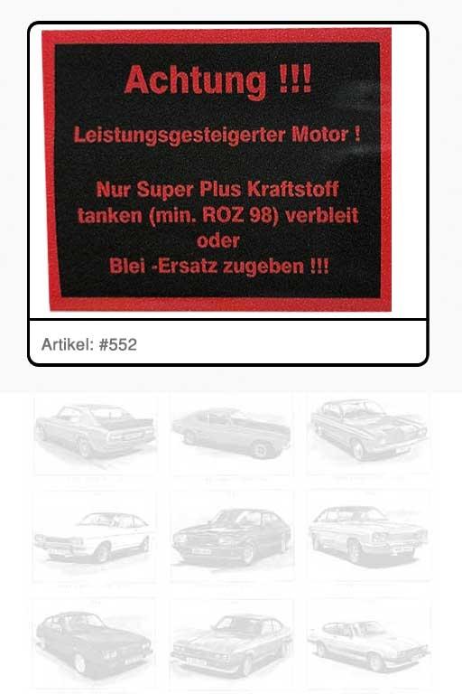 "Aufkleber ""ACHTUNG – Super Plus ROZ 98 tanken"""