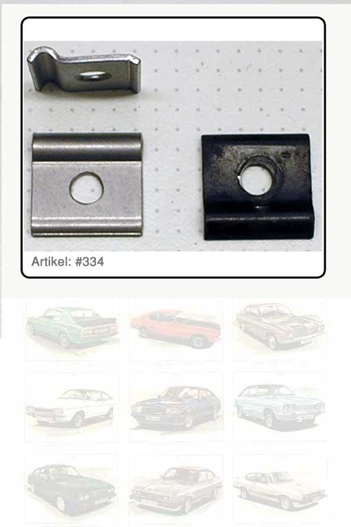 Schelle / Befestigungselement für Schenkelfeder zur Entriegelung Motorhaube Capri I - III